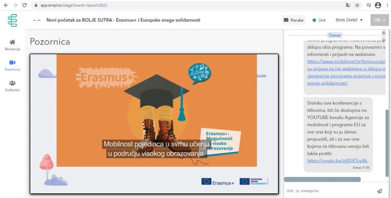"""Videokonferencija """"Novi početak za bolje sutra-Erasmus+ i Europske snage solidarnosti"""""""