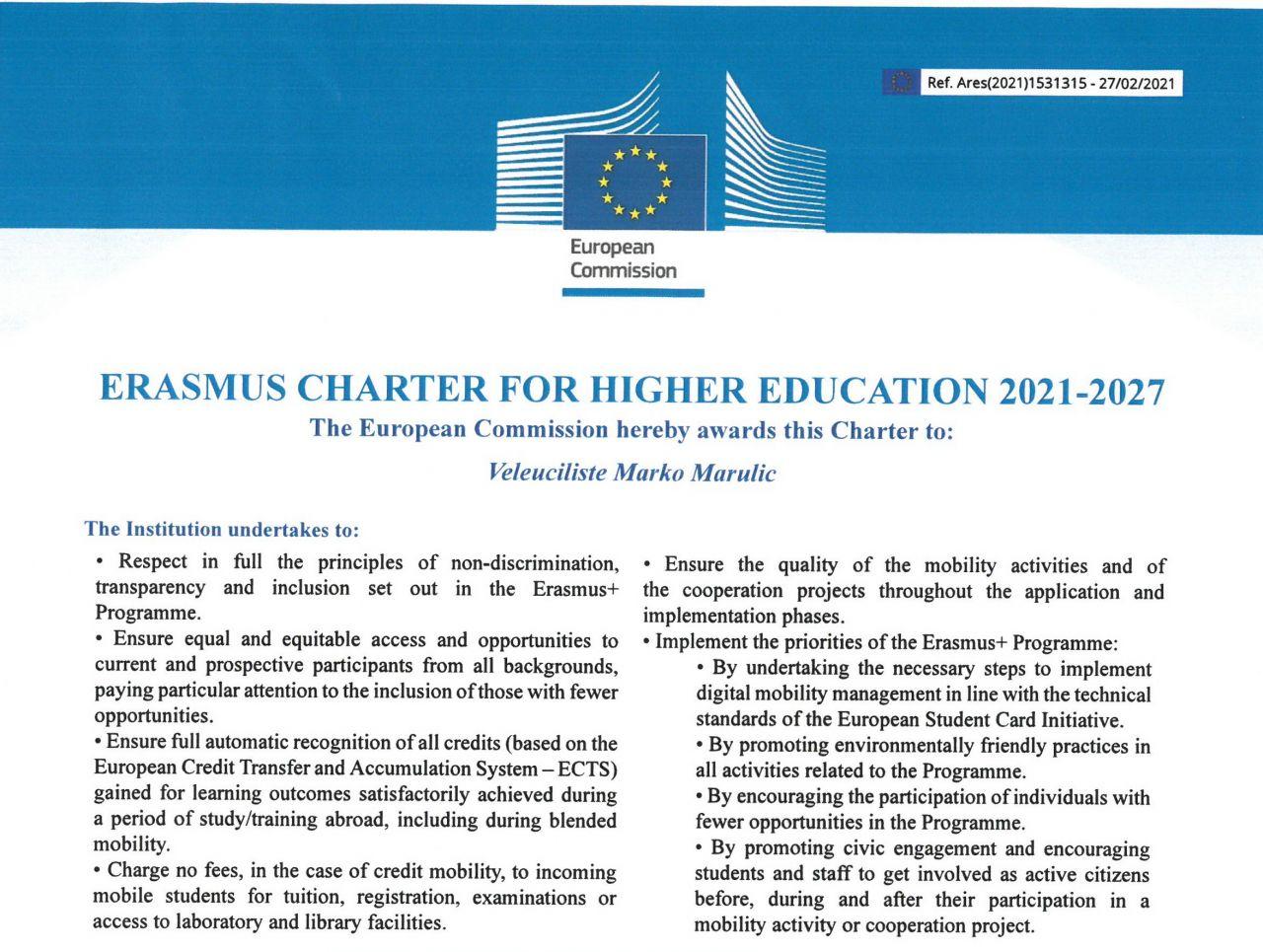 """Veleučilištu dodjeljena """"Erasmus Charter for Higher Education"""" povelja za novo programsko razdoblje 2021.-2027."""